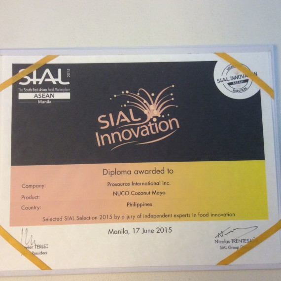 Nuco Coconut Mayo won second place at Sial Innovation Selection, 2015 held at World Trade Center, Manila Philippines June 17,2015.